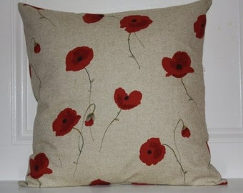 """Poppies Linen Pillow Cover, Handmade, 18""""x18"""" and 20""""x20"""""""