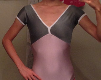 Two Color V Neck Leotard