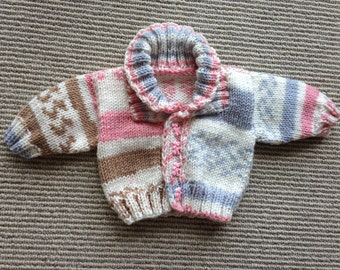 Newborn Baby Girl Knit Sweater - Hand Knit Sweater - Baby Sweater - Pink, Blue, Brown, White - Knitted Sweater - Baby Shower Gift -