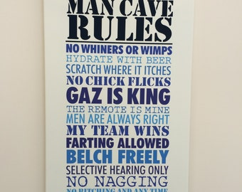 Man Cave Rules Canvas
