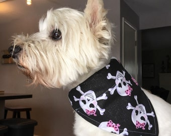Small Glittery Girly Skull Dog Bandana