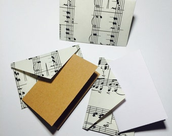"""Little music sheet envelopes with cards 2x3"""""""