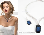Navy Blue and Silver Crystal and Rhinestone Necklace and Earrings, Navy Bridal Necklace, Navy Wedding Jewellery, Sapphire Jewellery Set