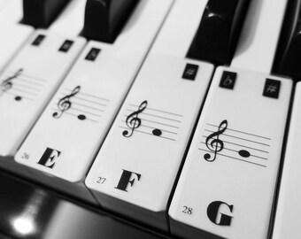 Piano Keyboard 88 Keys 52 White Keys Note Stickers Label Kid with Guide Handmade