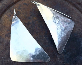 Silver hand hammered triangle earrings