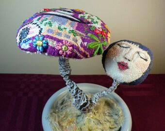 Embroidered Toadstool OOAK, Textile Art