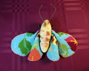 Vintage Tapestry Moth, Textile Art (1)