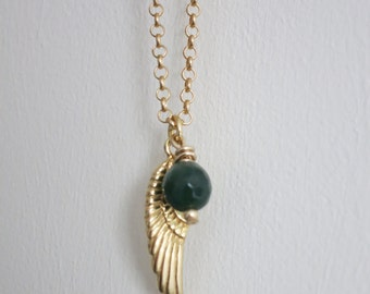 Gold wing pendant necklace, pendant with wing charm