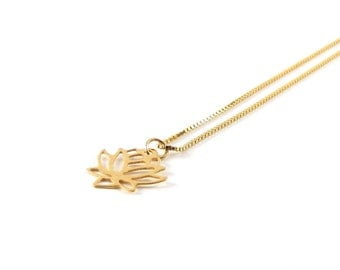 Lotus Flower delicate necklace I 925 gold plated