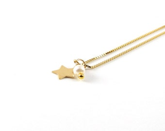 Star Pearl I delicate necklace I 925 gold plated