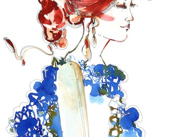 Portrait, Profile, Red hair and blue dress, Original watercolor and China ink fashion illustration