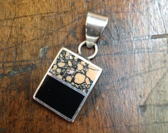 Rhodonite and Onyx Sterling Silver Pendant