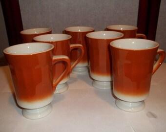 Vintage Syracuse China Coffee Mugs - Brown and White -Pedestal