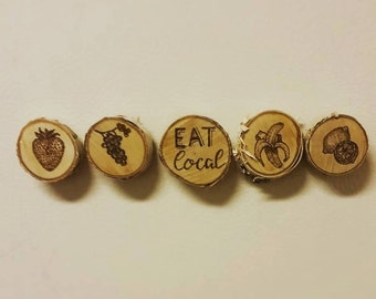 Wood burned magnets- fruit themed