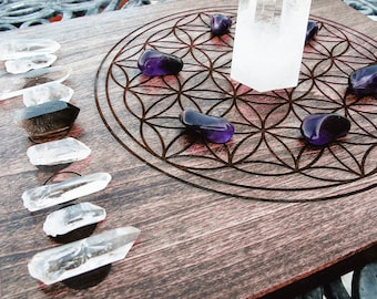 Crystal Grid with Moon Phases