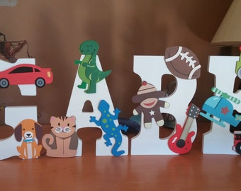 wooden letters for kids room, wooden initals, wooden letters for nursery, letters with wooden figures, hanging wall letters for nursery
