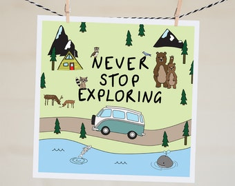 Never Stop Exploring Card | Travel Card | Going Away Card | Leaving Card | Bon Voyage | Moving Card | Wanderlust Card | Vintage Kombi | Cute