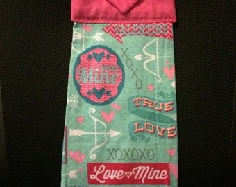 Pink and Blue Valentines Towel
