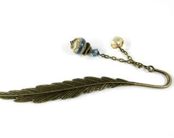 feather and heart bookmark with lampwork bead