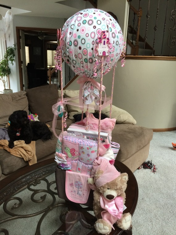 Items similar to Baby Shower Hot Air Balloon Gift Basket on Etsy