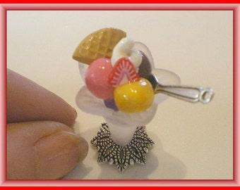 Beautiful ice cream sundaes - Doll House miniature polymer clay