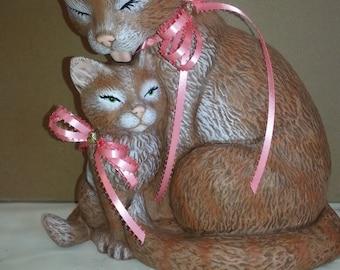 ceramic cat and babie