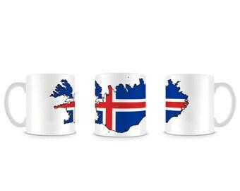 Cool Iceland Island Region and Flag Reykjavic Merkja og Kort Mug M839