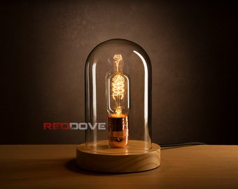 Retro/antique style Wooden Bell Jar Lamp inc Edison bulb - Option for  Personalised Engraving - Great Mothers day Gift
