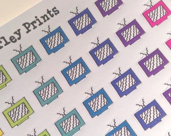 Rainbow Retro Hand Drawn TV Stickers Perfect for Planners