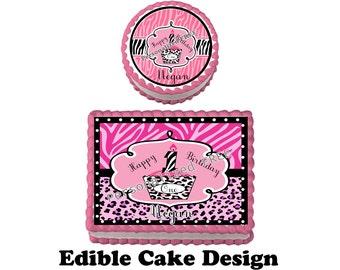 DIVA 1ST zebra Birthday Party Edible Cake Topper Cupcake Personalized Custom Made