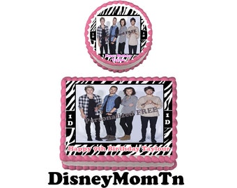 ONE DIRECTION  Birthday Party Edible Cake Topper Cupcake Personalized Custom Made Image