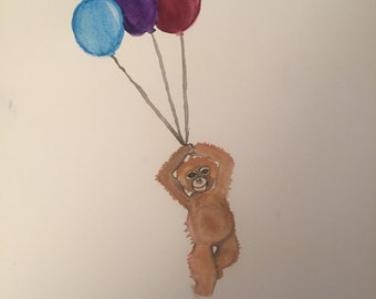 Watercolor Monkey with Balloons