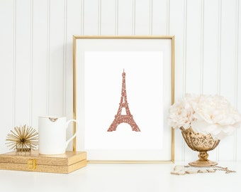 Rose Gold Faux Sparkle Eiffel Tower Paris Printable - Instant Download - Art Decor - High Resolution JPEG & PDF