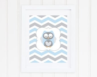 Baby Owl Nursery Print - Blue and Gray Chevron - Instant Download - Grey and Light Blue Animal Decor - High Resolution JPEG & PDF