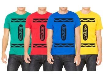Men's Crayon T-shirts Many Crayon Colors Halloween Costume Cosplay T-shirt