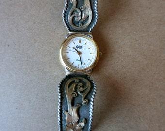 VINTAGE VOGT STERLING Watch, Rare, Western Silver Buckle, Signed, Excellent