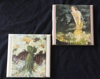 Coasters with Fairy Postcard decoration