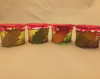 Autumn Filigree Tealight Holder, Candle Holder, Decoupage Tealight Holder
