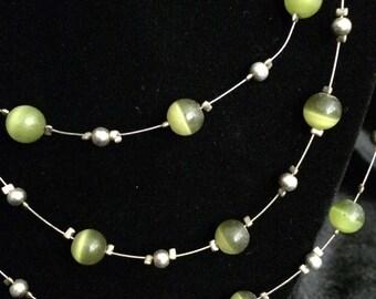 Vintage looking green gemstones 3 strand necklace