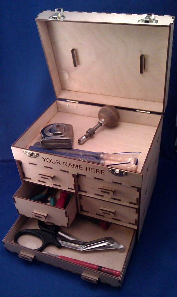 Personalized drawer wood toolbox jewelry box kit make