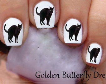 1192 Halloween Black Cat  Water Slide Waterslide Stickers Nail Art Decals Enough For 2 Manicures