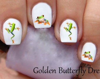 1200 Frogs Water Slide Waterslide Stickers Nail Art Decals Enough For 2 Manicures