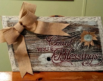 Count Your Blessings rustic wall decor
