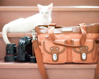 SALE! Laptop Camera Bag - DSLR Bag - Stylish Women Camera Bag - Coral Saddle - Lisbon Lei Momi Camera Tote