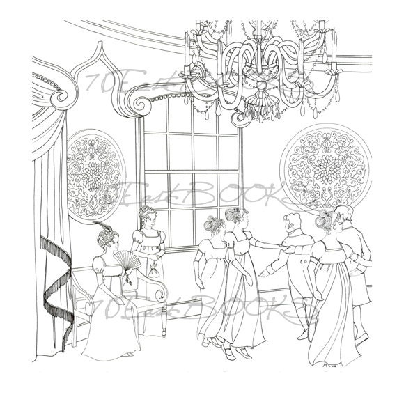 Pride and prejudice in coloring classic jane austen for Jane austen coloring pages