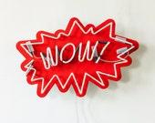 WOW! - Pop art handmade neon sign