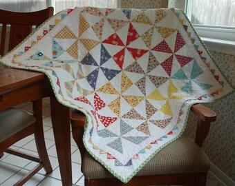 Whimsical Pinwheel Quilt - Handmade - Heirloom - Shower Gift - Baby Blanket - Baby Quilt - Shower Gift - Keepsake - Original - One of a Kind