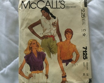 Vintage 1980 McCall's Blouse Pattern 7125