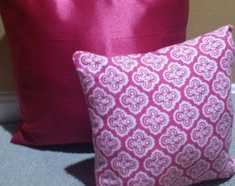 Fuschia Throw Pillow With Matching Pink and White Throw Pillow Set