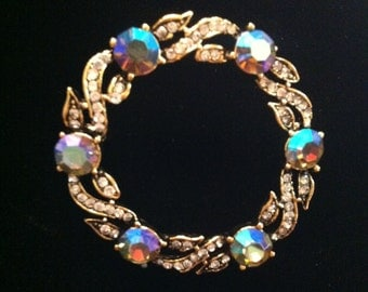 Gold Plated Weiss Wreath Brooch with Aurora Borealis stones